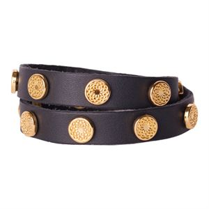 Picture of Black Leather Wrap with Gold Studs