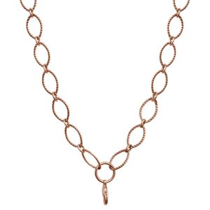 Picture of Nickel-Free Rose Gold Textured Oval Link Chain - 32""