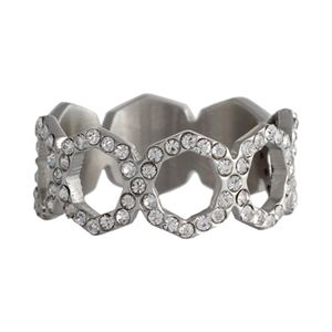 Picture of Silver with Crystals Octagonal Ring - Size 8
