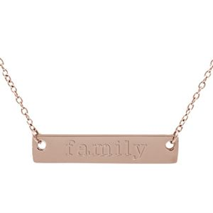 """Picture of Rose Gold 'Family' Bar Necklace - 16"""""""