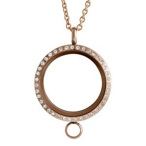 Picture of Large Rose Gold with Crystals Linkable Locket